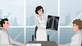 Клиника/девушка шаржа показывают рентгеновский снимок сток-видео