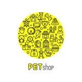 Клиника зоомагазина и ветеринара vector логотип с линией значками котов, собак, товаров для животных Стоковая Фотография RF