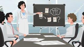 Клиника шаржа/женский доктор представляя на встрече акции видеоматериалы