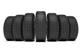Клин новых колес автомобиля Изолировано на белизне иллюстрация вектора