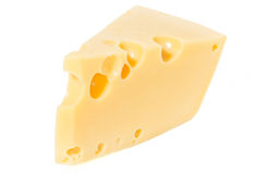 Клин сыра и стекла молока на белизне Стоковое Изображение
