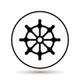 клиппирование изолированное над белизной колеса корабля путя Значок рулевого колеса шлюпки также вектор иллюстрации притяжки core иллюстрация штока
