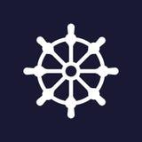 клиппирование изолированное над белизной колеса корабля путя Значок рулевого колеса шлюпки Белый значок вектора Стоковое Изображение
