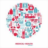 клиппирование содержит комплект путя цифровой иллюстрации иконы медицинский Стоковое Изображение RF