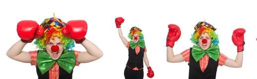 Клоун в различных представлениях изолированный на белизне Стоковое фото RF