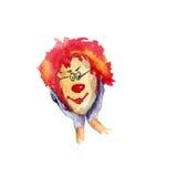 Клоун, иллюстрация акварели Стоковое Фото