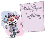 Клоун на юнисайкле держа партию ливня Приглашени-младенца Стоковые Изображения