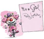 Клоун на юнисайкле держа Приглашени-его партия девушки Стоковые Фотографии RF