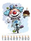 Клоун на юнисайкле нося именниный пирог мальчика Стоковая Фотография