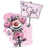 Клоун на юнисайкле Hoding свое девушка Plackard Стоковое фото RF