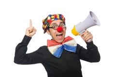 Клоун при громкоговоритель изолированный на белизне Стоковое Изображение