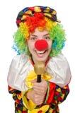 Клоун при mic изолированный на белой предпосылке стоковое изображение