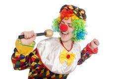 Клоун при mic изолированный на белой предпосылке стоковые фотографии rf