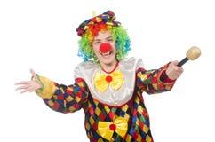 Клоун при mic изолированный на белой предпосылке стоковое фото rf