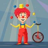клоун цирка счастливый alien кот шаржа избегает вектор крыши иллюстрации Стоковое Изображение RF