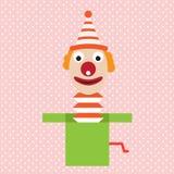 Клоун шаржа в шуте апреле коробки плоском иллюстрация штока