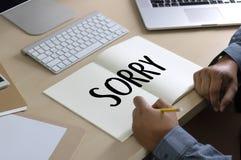 К СОЖАЛЕНИЮ простите терпеть неудачу сожаления Oops ложному сожалению Apolo ошибки недостатка Стоковое Фото
