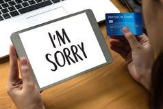 К СОЖАЛЕНИЮ простите терпеть неудачу сожаления Oops ложному сожалению Apolo ошибки недостатка Стоковые Фотографии RF