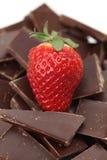 Клубника и части шоколада Стоковое Фото