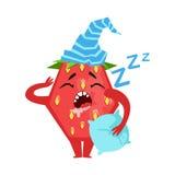 Клубника спать смешная Милая иллюстрация вектора характера emoji шаржа Стоковое Изображение RF