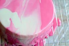 Клубника торта Muscovy с сливк и Stroiteley Оно состоит из 2 типов муссов Первый мусс в белизне Стоковое Фото