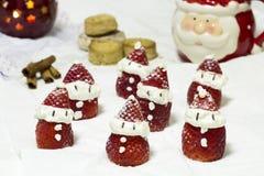 Клубники Санта Клауса десерта Стоковое Изображение RF