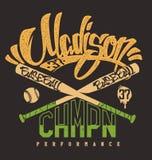 Клуб бейсбола Madison, печать для sportswear Иллюстрация штока