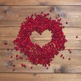 Клюквы на коричневой предпосылке вектор Валентайн формы картины s сердца подарка рамки конструкции дня карточки безшовный Стоковое Изображение