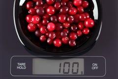 Клюквы на масштабе кухни Стоковое Изображение RF