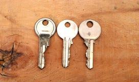 3 ключа на влажной древесине Стоковое Изображение RF