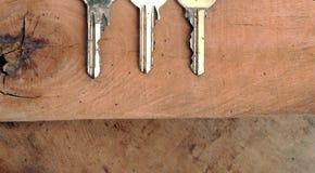 3 ключа на влажной древесине Стоковая Фотография