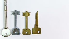 ` Ключа ` слова сделано ключей различной формы, на белой предпосылке Собрание фена для волос конструкции термо- акции видеоматериалы