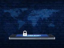 Ключевая безопасность значка и кибер отправляет СМС на современном умном экране ov телефона Стоковая Фотография