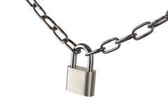 Ключевой замок запертый с цепью, путь клиппирования Стоковое Изображение