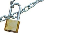 Ключевой замок запертый с цепью Стоковое фото RF