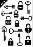 ключевой замок секрет Любовь дом Комплект значка также вектор иллюстрации притяжки corel Стоковые Фото