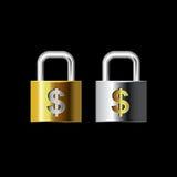 Ключевые цвета золота и серебра замка денег вектора Стоковая Фотография RF