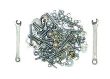 Ключи, болты, гайки, винты и шайбы Схематическое изображение вилки и нож любят еда Стоковые Изображения RF