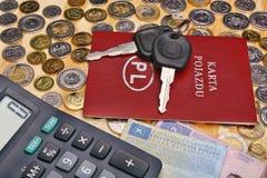 Ключи и деньги автомобиля документов Стоковое Изображение RF