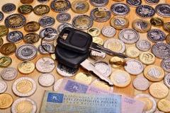 Ключи и деньги автомобиля документов Стоковая Фотография RF