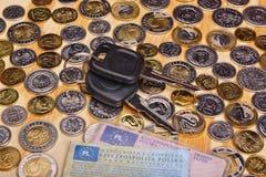 Ключи и деньги автомобиля документов Стоковое Фото