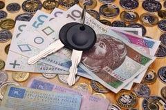 Ключи и деньги автомобиля документов Стоковое фото RF