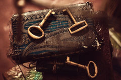 Ключи и дневник старого золота Стоковое Фото