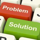Ключи компьютера проблемы и решения показывая помощь и Solvin Стоковые Фотографии RF