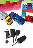 Ключи, модельный автомобиль, пластичный дом блока Стоковые Фото
