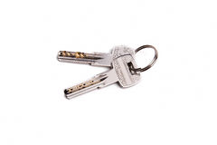 Ключи от кольца на белой предпосылке Стоковое Фото