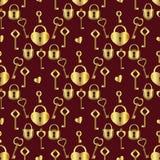 Ключи от сердца картина безшовная Стоковое фото RF