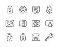 Ключи плана и значки замков иллюстрация штока