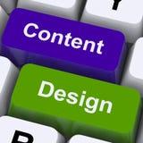 Ключи содержимых и дизайна показывают творческое продвижение стоковое изображение