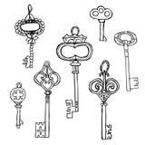 ключи установили сбор винограда Ретро ключевой шаблон дизайна логотипа вектора антиквариаты или старый значок вещи Стоковое фото RF